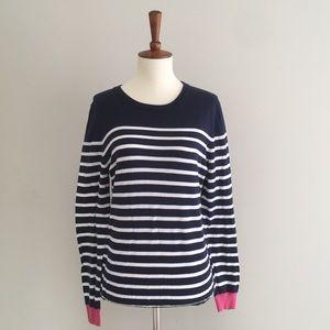 Garnet Hill Navy White Stripe Sweater Size Med
